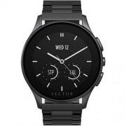 Smartwatch Luna Otel Inoxidabil Negru Bratara Otel Neagra Vector