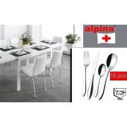 Set 16 posate in acciaio inossidabile ALPINA stoviglie moderne e raffinate acciaio inox