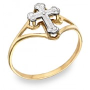 Ladies' Cross Ring, 14K Two-Tone Gold
