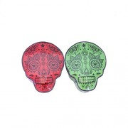 Set Of 2 Skull Shaped Boxes Lacquered Magnetic Closure Keepsake Box Red And Green