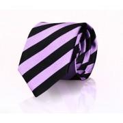 Krawatte Seide Schwarz Streifen FD19 - Schwarz