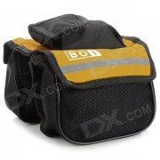 BOI 12850 Outdoor Ciclismo Poliester Bike Top Tube Doble-Bag - Negro + Amarillo