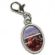 Graphics and More Horse Race Racing Antiqued Bracelet Pendant Zipper Pull Oval Charm with Lobster Clasp