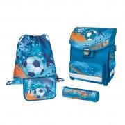 Ghiozdan ergonomic echipat (penar 16 piese, necessaire rotund, sac sport), dimensiune 38x30x21 cm motiv Smart Plus Soccer