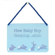hang-ups! - tinnen bordje - new baby boy sleeping