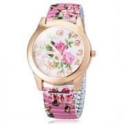Mulheres Relógio de Moda Quartz Lega Banda Flor Preta / Branco / Azul / Rosa marca-