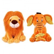 King Lion and Elephant With Banana Combo Stuff Toy