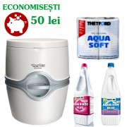 PACHET EXCELLENCE EM-L: Toaleta PORTA POTTI EXCELLENCE manual + solutie dizolvare deseuri + solutie igienizare + hartie