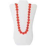 Little Teether Hearts Teething Necklace for Baby Nursing - Stylish Silicone Necklace for Moms Teether for Babies. Provides Teething Pain Relief. Teething Remedy Approved by Mothers! - Coral