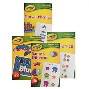Crayola Early Learning Flash Cards - Set of 4 Packs - 144 Flash Cards; Numbers Colors Phonics and Matching