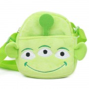 Cute Green Three Eyed Monster Sling Baby Bag Stuffed Soft Plush Toy