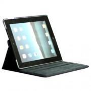Husa iPad 3 Lichee Piele PU Cu Stand Si Rotatie 360 Grade Albastru Inchis