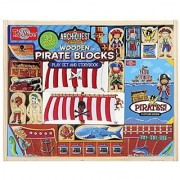 This pirate themed building set contains 34 wooden farm themed building blocks and a pirates picture book.-Pint-sized b