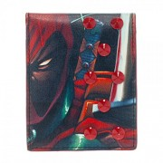 "Marvel Extreme Deadpool Bi-Fold Mens Wallet with Studs 4""x3"" Folded"