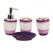 Set de baie, cu 4 accesorii, design dungi mov si roz