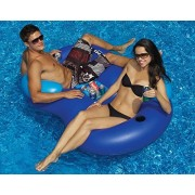 """64"""" Blue Duo Circular Inflatable Swimming Pool Lounger With Cooler"""