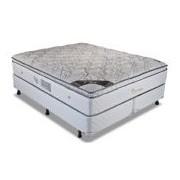 Conjunto Box Colchão Luckspuma Molas Pocket Platinum + Cama Box Courino White - Conjunto Box Queen Size - 158 x 198