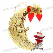 Festive Christmas Decoration - Moon Santa Claus Figure Strap Ornaments (2-Pack)