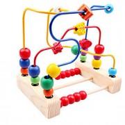 contas de madeira em torno de três linha de brinquedos ao redor do brinquedo do bebê quadro talão de flores para as crianças clássico de
