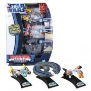 Hasbro Year 2012 Star Wars Exclusive Titanium Die Cast Series 3 Pack 3 Inch Long Vehicle Set - Anakin Skywalker Podracer Sebulba Podracer and Trade Federation Battleship Plus 3 Display Stands