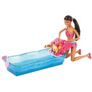 Barbie Swim and Race Pups African-American Doll Playset