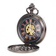 Masculino Relógio de Bolso Mecânico - de dar corda manualmente Gravação Oca Lega Banda Preta marca-