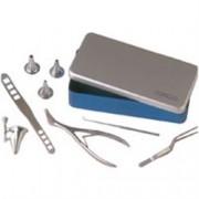 trousse orl in scatola alluminio - 6 strumenti in acciaio inox