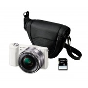 SONY ALPHA 5000 KIT BLANCA ILCE5000L CÁMARA CON LENTES INTERCAMBIABLES + FUNDA + SD 8GB