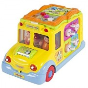 Best Choice Products Toy Educational Musical Yellow School Bus Bump and Go Headlights Music and Games
