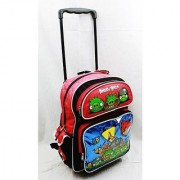 Angry Birds Large 16 Rolling Backpack - Metallic Blue with Red Top