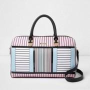 River Island Womens White stripe print weekend bag