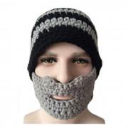 e-inteligente patron de rayas divertida de media cara cubierta sombrero caliente - negro + gris