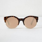 River Island Womens Brown tortoise shell gold mirror sunglasses