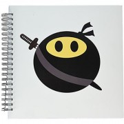 3dRose db_123167_2 Ninja Smiley Face Funny Masked Yellow Happy Face Fun Cute Spy with Japanese Sword and Black Mask Memory Book 12 by 12-Inch