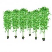 vidaXL Комплект от 6 броя изкуствени декоративни бамбукови дръвчета, 190 см.