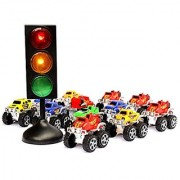 Dazzling Toys Truck And Traffic Set - 7 Traffic Light with 12 Pull Back 3 Monster Trucks