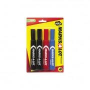 Regular Desk-Style Permanent Marker, Chisel Tip, Assorted, 4/set
