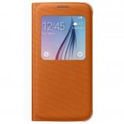 Husa tip carte S-View Samsung EF-CG920BOEGWW portocalie (textil) pentru Samsung Galaxy S6 (SM-G920)