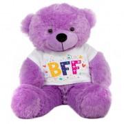 Purple 2 feet Big Teddy Bear wearing a BFF T-shirt