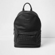 River Island Mens Black studded front faux leather backpack