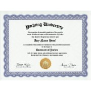 Yacht Yachting Boater Degree: Custom Gag Diploma Doctorate Certificate (Funny Customized Joke Gift Novelty Item)