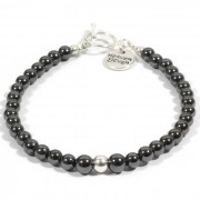 Heaven Eleven heren armband Magnet and Silver Beads-20cm