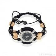 Náramek s hodinkami Shamballa LSB0021 žlutohnědý