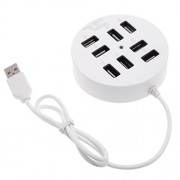 LipiWorld Round 8-Port USB 2.0 Hub Portable Splitter Adapter 8-Port Hub (White)