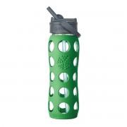 Lifefactory - Glasflasche 0.6 Liter mit Straw Cap, grün