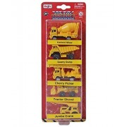 Maisto - Metal Kruzerz Free Wheel Die Cast Construction Vehicle Combo - 4 (Pack of 5 Vehicles)