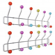 Colourful Wall Peg Board with 12 Hooks 2 pcs