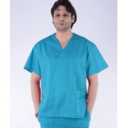 BLUZA chirurgicala in V, unisex, turcoaz - cod CH40