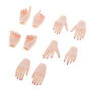 Segolike 5 Pair(10pc) 1/6 12'' Female Figure Hands Hand Models Pink Skin Pink Nails