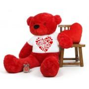 Red 5 feet Big Teddy Bear wearing a I Love You T-shirt